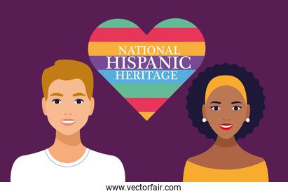 national hispanic heritage celebration with couple and lettering in heart scene