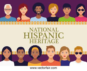 national hispanic heritage celebration lettering with team people in square frame