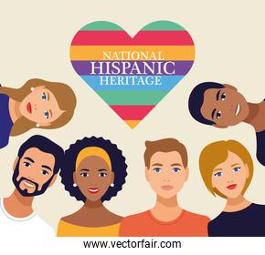 national hispanic heritage celebration with people and lettering in heart