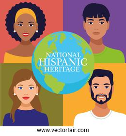 national hispanic heritage celebration with people and lettering in world planet