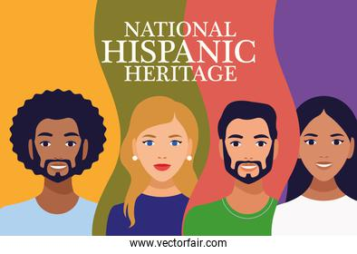 national hispanic heritage celebration lettering with people and colors background