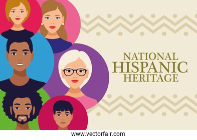 national hispanic heritage celebration lettering with people in circles colors