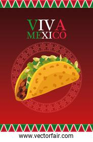 viva mexico lettering and mexican food poster with taco