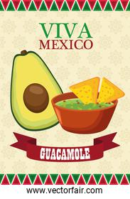 viva mexico lettering and mexican food poster with avocado and guacamole
