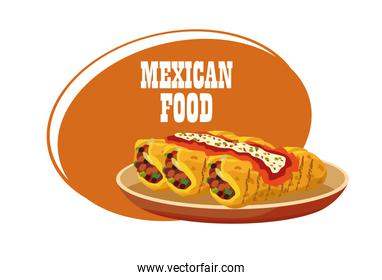 mexican food lettering poster with burritos in dish