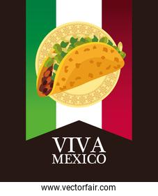 viva mexico lettering and mexican food poster with taco in flag