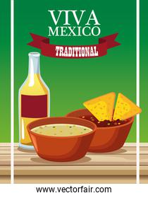 viva mexico lettering and mexican food poster with nachos in sauces and tequila