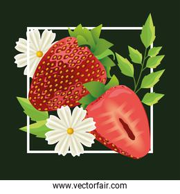 floral background with strawberries and flowers