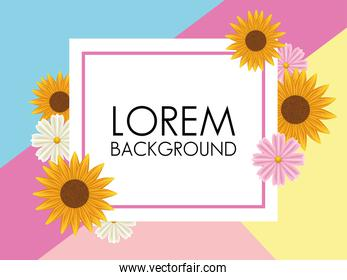 floral background with square frame and colors flowers