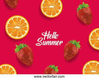 hellow summer with oranges and strawberries fruits pattern