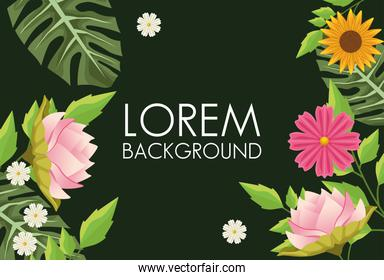 floral background with decorative flowers in green background