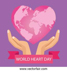 world heart day lettering with hands protecting pink heart and ribbon frame