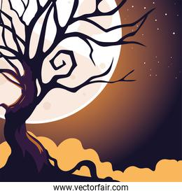 halloween dark night background with full moon and scary tree