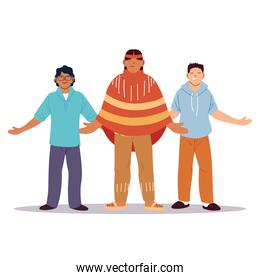 multiethnic group of people standing together, diversity or multiculturalism