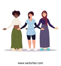 multiethnic women together, diversity or multicultural