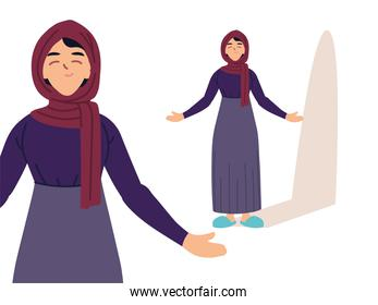 muslim woman in different poses, diversity or multicultura