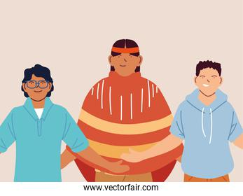 multiethnic group of people standing together, multicultural