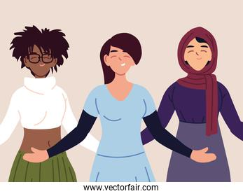 portrait of multiethnic women together, diversity or multicultural