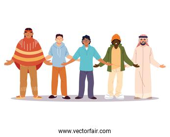 multiethnic group of people standing together, diversity or multicultural