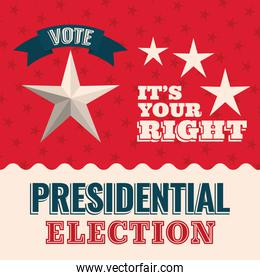 Vote its your right with star and ribbon vector design