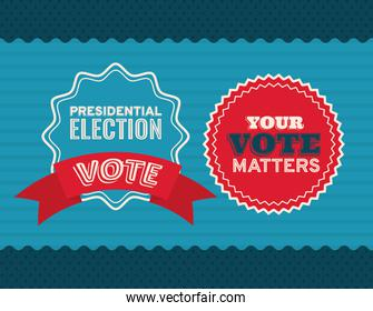 two vote seal stamps on blue and striped background vector design