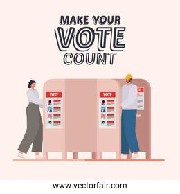woman and man at voting booth with make your vote count text vector design