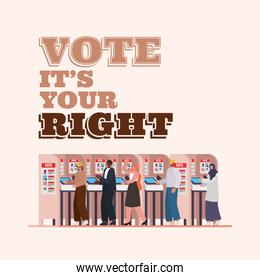 people at voting booth with vote its your right text vector design