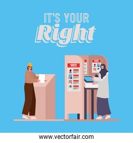 women with voting box and booth with its your right text vector design