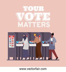 women at voting booth with your vote matters text vector design
