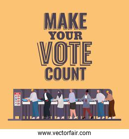 people at voting booth with make your vote count text vector design