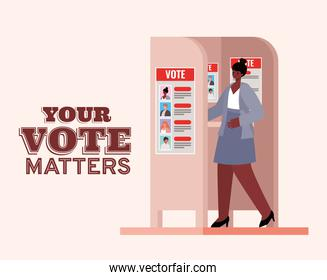 black woman at voting booth with your vote matters text vector design