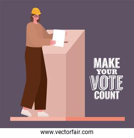 woman and voting box with make your vote count text vector design