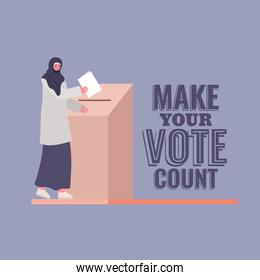 muslim woman and voting box with make your vote count text vector design