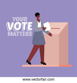 black woman and voting box with your vote matters text vector design
