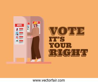 woman at voting booth with vote its your right text vector design
