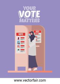 muslim woman at voting booth with your vote matters text vector design