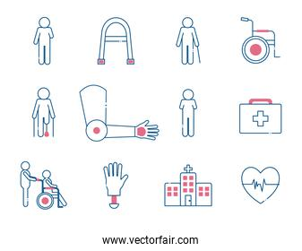 Handicapped line style set icons vector design