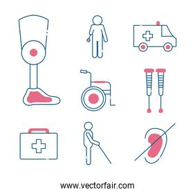 Handicapped line style set of icons vector design