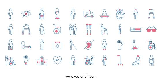 Handicapped line style collection of icons vector design