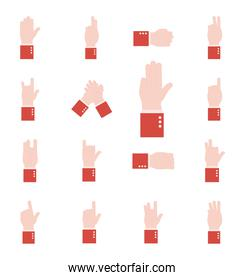 hand sign language alphabet flat style set icons vector design