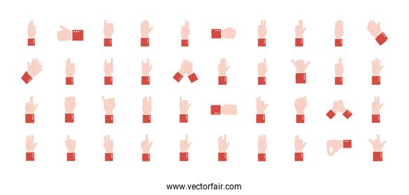 hand sign language alphabet flat style set of icons vector design