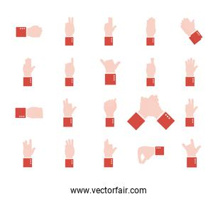 hand sign language alphabet flat style collection of icons vector design