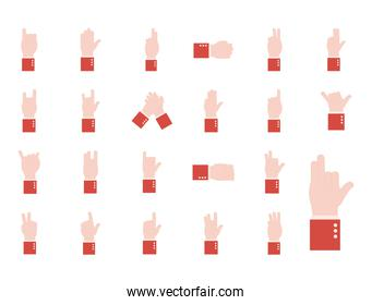 hand sign language alphabet flat style icons collection vector design