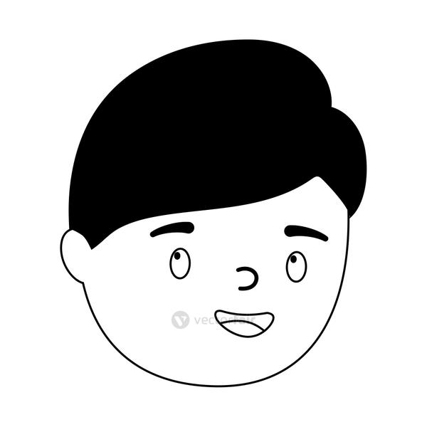 boy face cartoon character isolated design white background line style