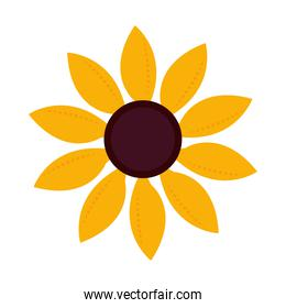 nature decoration sunflower floral nature icon flat style