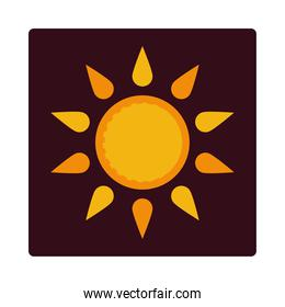 sun summer weather icon block and flat