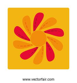 abstract floral flower decoration ornament icon block and flat