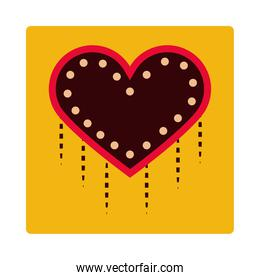 dotted frame heart love ornament decoration icon block and flat