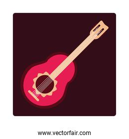 guitar instrument musical string element icon block and flat