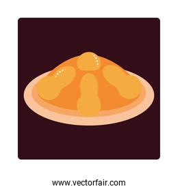 nachos with cream cheese food icon block and flat